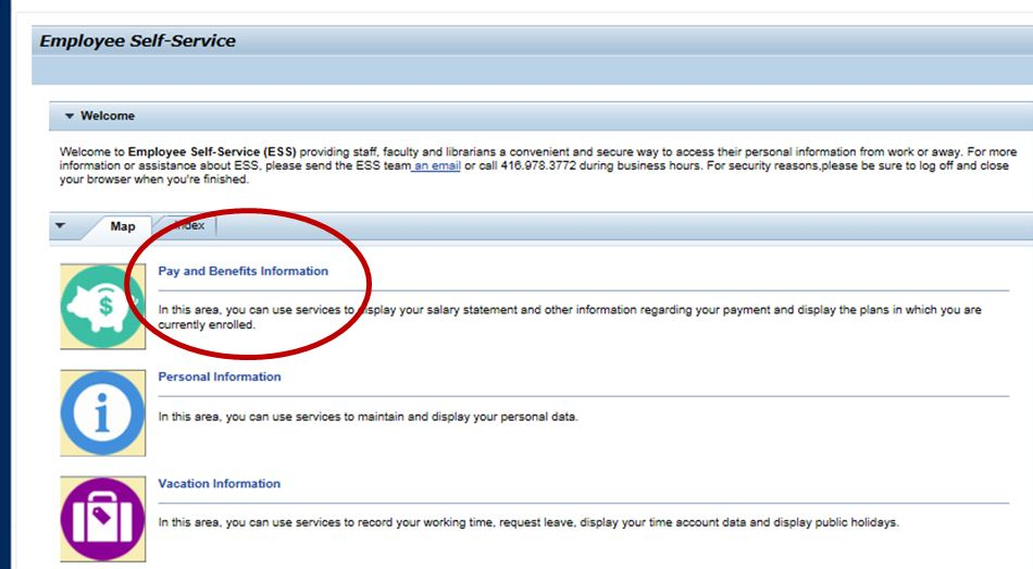 Employee Self-Service, Pay and Benefits Information page Screenshot