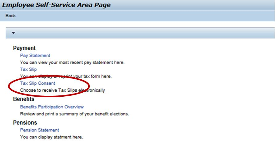 Employee Self-Service Area Page screenshot
