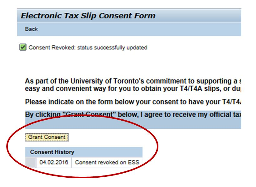 Electronic Tax Slip Consent Form screenshot